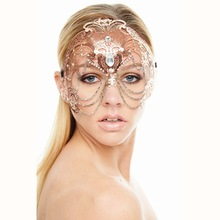 Elegant Phantom Rose Gold Wedding Party Mask Women Chain Costume Venetian Filigree Metal Laser Cut Cosplay Masquerade Mask
