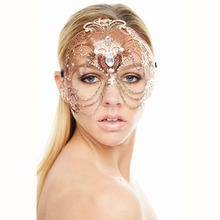 Elegant Phantom Rose Gold Wedding Party Mask Women Chain Costume Venetian Filigree Metal Laser Cut Cosplay Masquerade Mask(China)