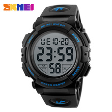 SKMEI Men LED Wristwatches Round Digital Electronic Mens Watch Waterproof  For Men Sports Watches Relogio Masculino 1258