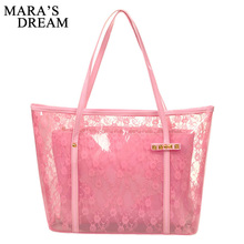 Mara's Dream Lady Printing Flower Handbags Designer Tote Bag See-through Shoulder Bags Clear Transparent Jelly bag(China)