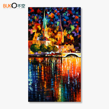 2016100% hand-painted landscape oil painting cities Vertical Type palette knife canvas painting abstrato pictures Night Street