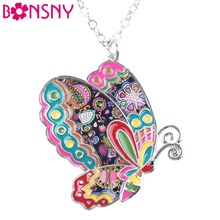 Bonsny Maxi Statement Metal Alloy Enamel Jewelry Butterfly Necklace Choker Collar Pendant 2016 Fashion New For Women(China)