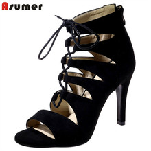 Asumer Three colors sexy lady shoes zipper flock solid fashion summer shoes woman sandals party high heels shoes big size 34-43