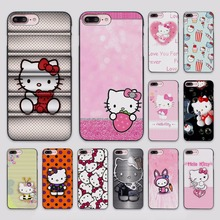 cute Hello kitty design hard black Case Cover for Apple iPhone 7 6 6s Plus SE 5 5s 5c 4 4s