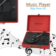 Portable Stereo gramophone Home Turntable USB Portable suitcase vinyl machine Antique Vintage LP phonograph record Audio player(China)