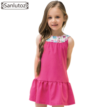 Sanlutoz Cotton Little Girls Dresses Flower Kids Clothes Brand Toddler 2017 Party Birthday Fashion Princess Cute Summer