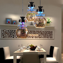 Modern Led colorful Plated glass 3D pendant light 3 head Mirror glass Ball lampshade crystal droplight for restaurant cafe bar(China)