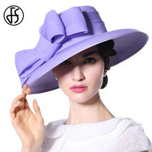 FS Royal Wedding Hats For Ladies Purple Large Bowknot Brim Fedora Flat Top Church Women Kentucky Derby Hat(China)