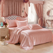 Mulberry Silk Bed Linen King Queen Size Tencel Silk Bedding Sets Bed Skirts Duvet Cover Bedclothes Linen Bedspread No Comforter