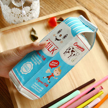 Cute Kawaii PU Pencil Case Creative Milk Pencil Bag For Kids Gift Novelty Item School Supplies Stationery Free Shipping 1182