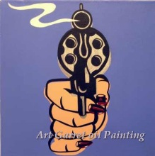 Free Shipping wholesale Hand painted Modern Pop art oil painting on canvas abstract wall art  for home Decor A Gun