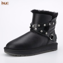 INOE fashion sheepskin leather women ankle winter snow boots for womans buckle natural fur lined short winter shoes waterproof