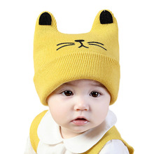 Cartoon Baby Hat with Ears Knitted Girl Boy Baby Beanie Autumn Winter Children Cap 1 PC