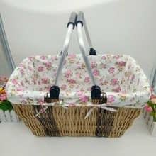 Willow baskets  car fabric supermarket shopping basket Japanese Style storage basket folding box foodpicnic basket container