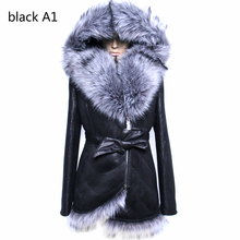 Factory direct supplier winter new Cheap Splicing highend fox fur coat women fashion Faux collar Suede fold printing stitching