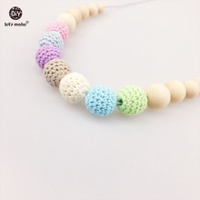 Let's Make Nursing Necklace Chew Wooden Beads DIY jewelry Crochet Bead Baby Teether Wood Teether Nursing Accessories Pram Toy(China)
