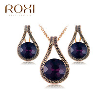 ROXI Jewelry Set Luxury Rose Gold Color Ugyen Antiquity Purple CZ Pearl Bridal Jewelry Sets Women Necklace Earrings Wedding