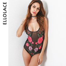 Ellolace Women Sexy Bodysuits Floral Embroidery U-Neck Transparent Mesh Playsuits Slim Body Fitness One Piece Y-line Straps(China)