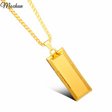 MenCool Chain Punk Necklaces Gold Cube Bar SUPREME Necklace & Pendant Hip Hop Jewelry Dance Charm Franco Christmas Halloween