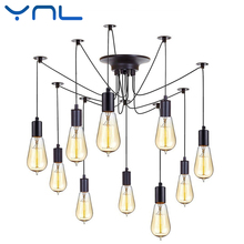 YNL Modern Nordic Retro Edison Bulb E27 2 meters Line Vintage lamps Antique DIY Art Spider Pendant Lights Home suspension(China)