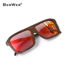 BerWer 2018 polarized sunglasses wooden bamboo women men handmade bamboo colored brown color sunglasses(China)