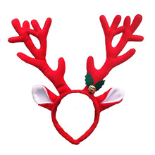 1pc Cute Elk Long Horn Headband Fashionable Cloth Antlers Reindeer Bell Christmas Headwear Head Band Adult Children Xmas Decors