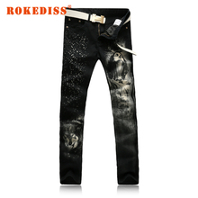 Men's fashion long hair print jeans Male colored drawing painted slim denim pants Black trousers fake designer clothes G242