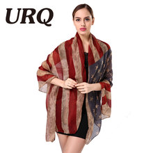 Brand Designer Women Vintage west style American Flag Scarf Woman Long Scarves Shawl Stole Soft