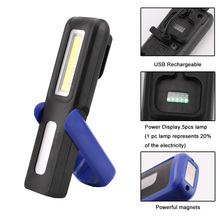 LED Flashlight USB Charging Portable COB LED+XPE LED Torch Lantern Magnetic Work Lights Camping Lamp With Power Display(China)