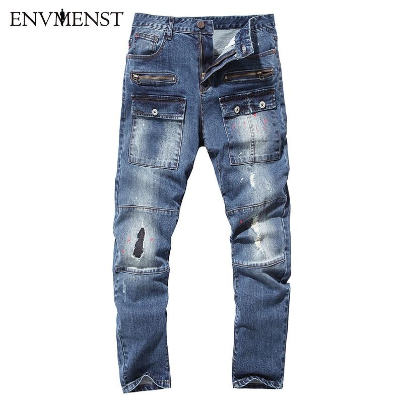 Envmenst 2017 Brand Newest High Quality Mens Jeans Pocket Designed Paint Decoration Street Denim Pants Hole Jeans for MenОдежда и ак�е��уары<br><br><br>Aliexpress