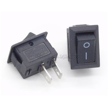 5Pcs Wholesale 10*15 Ship Type Switch Black AC 3A 250V 2 Pin ON/OFF I/O SPST Snap in Mini Boat Rocker Switch 10X15