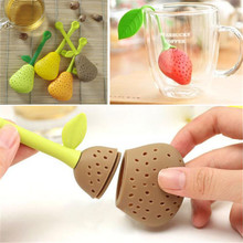 New Lovely Functional Strawberry Pear Silicone Tea Brewing Filter Bag Percolator(China)