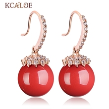 KCALOE Red Dangle Earrings Large Ball Artificial Coral Wedding Rose Gold Color Cubic Zircon Crystal Earring Women Jewelry(China)
