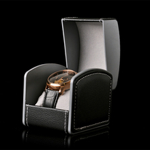 Leather arc-shaped watch storage box/Clamshell PU cortex suede watch jewelry boxes single grid gift box(China)