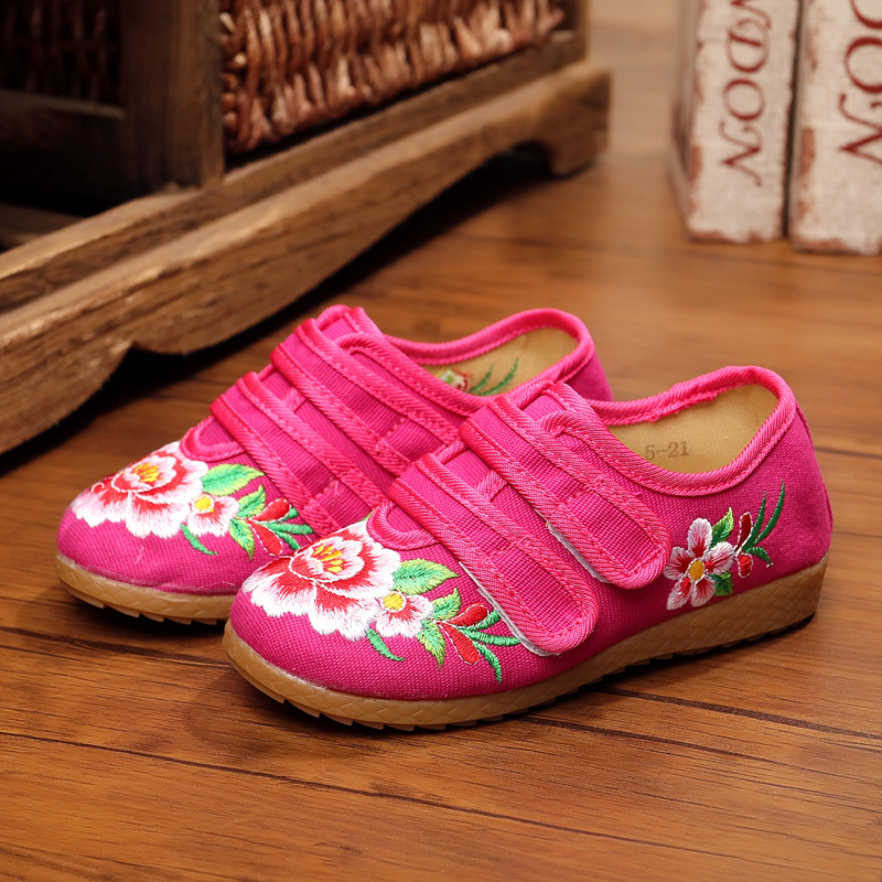 New chinese style beautiful flower embroidery child canvas flats shoes dance shoes for children foot length 15-21 cm Hook&amp;Loop<br><br>Aliexpress