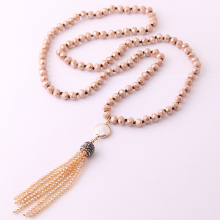 New! Free Shipping 8mm Brown Glass Crystal Beads Knotted with round pearl charm and mini crystal tassel Popular Necklace