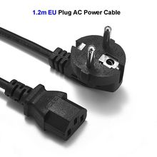 2pcs 2 Prong Power Cable EU US UK AU CN Plug IEC C13 AC Adapters European Power Cord 1.2m 4ft For PC Computer Printer LCD TV(China)