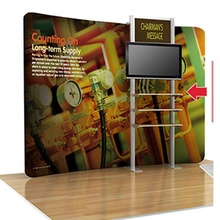 10ft Curved tension fabric trade show display pop up banner booth with TV stand mount counter travel case