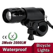 7W CREE Q5 LED 2000lm Aluminum Waterproof IP6 AAA Battery with Holder Front Cycling Bike Bicycle Lights Lamps Lantern Flashlight(China)