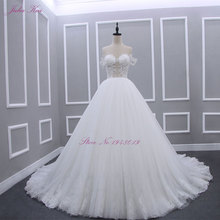 Julia Kui Robe De Mariage Strapless A Line Princess Wedding Dress Strapless Off The Shoulder Bust Floor Length Bridal Dress(China)