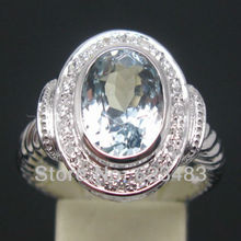 3.20CT SOLID 14K White GOLD NATURAL AQUAMARINE . ENGAGEMENT RING