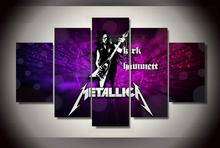 No Frame 5 Pieces Kirk Hammett Muzyka Metallica Modular Oil Poster Large HD Canvas Painting On The Wall Pictures For Living Room