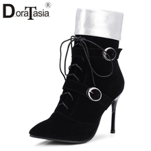 DORATASIA Plus Size 32-43 Women Ankle Boots Lace Up 첨 발가락 10 센치메터 Super (High) 저 (힐 Mixed Color ankle Boots 암 Shoes Woman(China)