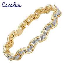 Escalus Trendy Magnetic 2-Tone Gold Silver Color Women Bracelet Gift Wave Fashion Bangle Ladies Bracelet Jewelry Wristband Charm(China)