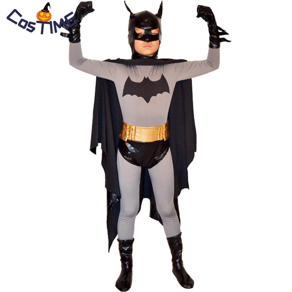 Kids Batman Costume Deluxe Classic Batman Full Body Tight Suit with Cape Masked Superhero Halloween Costume for Children Custom