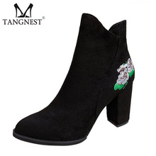 Tangnest Autumn Suede Leather Ankle Boots For Women Retro Embroider Side Zip Boots Women Square Heel Shoes Fashion Pumps XWX6342