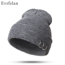 2017 NEW Fashion Popular Winter Warm Hat Cotton Knitted Skuillies Beanies Casual Solid Color Sets Headgear Hats For Men(China)