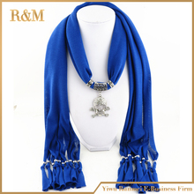 [RUNMEIFA] Skull Pendant Scarf Jewelry New style Turquiose Charms Scarves with Cotton horse scarf