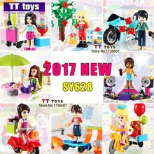 10lots of SY628 School Girl With Motorcyle Super Heroes Building Blocks Bricks Education Learning Toys for Children Gift