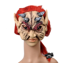 Devils Latex Scary Mask Ghost Mask Red Long Hair Make up Mascara Terror Cosplay Party Masquerade Halloween Props Fancy Costume